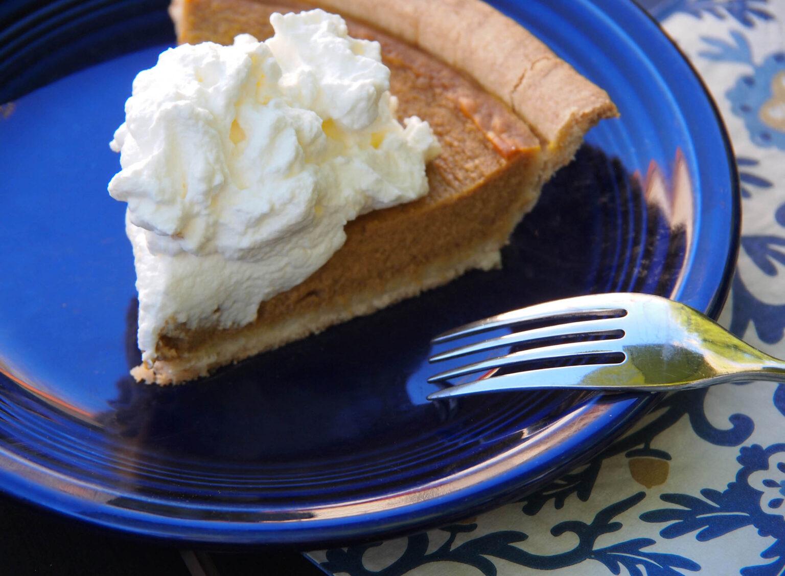 pumpkin pie with whip cream